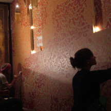 Team working on Kenze Mural Liverpool street, London