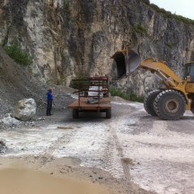 Collecting Ewenny Limestone from Quarry